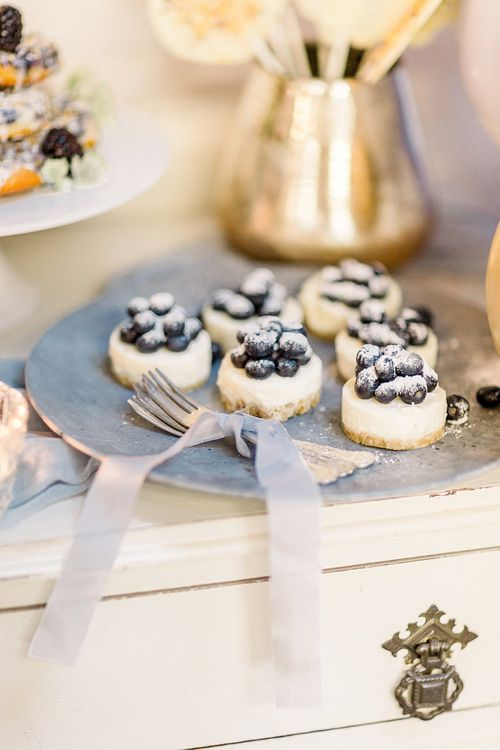 Mini Cheesecakes Dessert Table for Powder Blue & Luxury Gold Wedding Inspiration Planned & Styled by Hayley Jayne Weddings & Events and Photographed by Terri & Lori Fine Art Photography & Film Studio