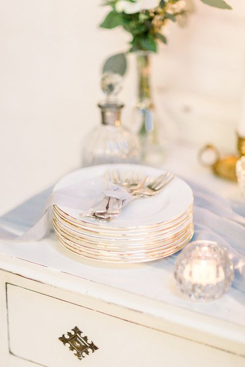 Dessert Table Cake Plates & Forks for Powder Blue & Luxury Gold Wedding Inspiration Planned & Styled by Hayley Jayne Weddings & Events and Photographed by Terri & Lori Fine Art Photography & Film Studio