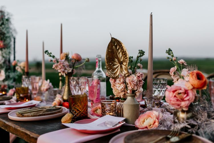 Wedding Table Decor with Ink Well, Coloured Tableware, Candles and Blush Pink Flowers
