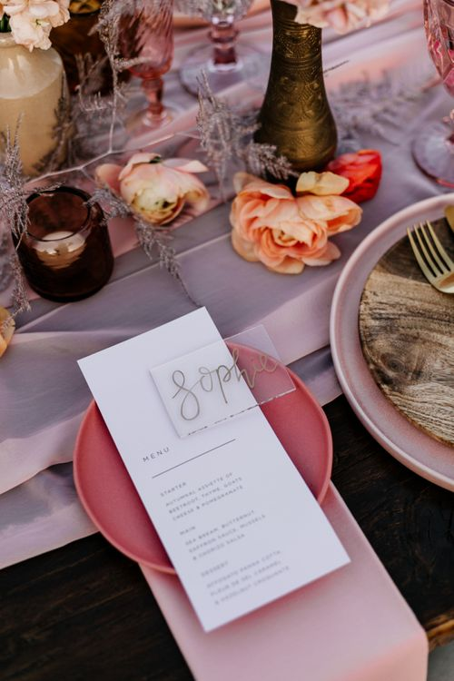 Side Plate with Menu Card and Acrylic Name Place Card