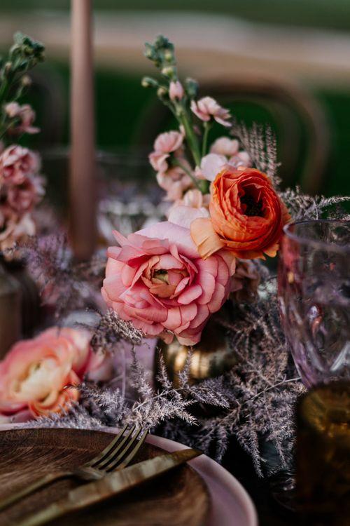 Pink Wedding Flower Stems in Vase
