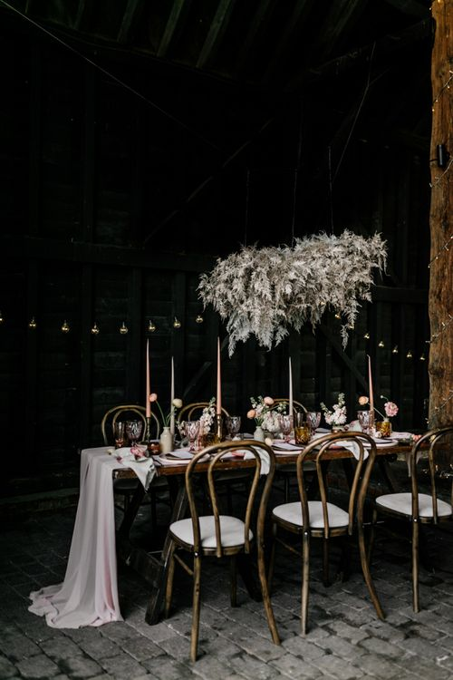 Metallic Fern Cloud Hanging Installation Over Table Scape