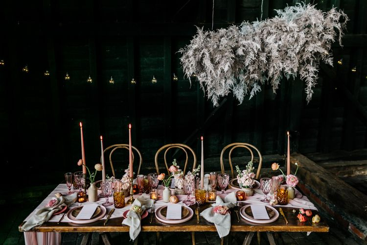 Coloured Table Ware, Cut Glass and Taper Candles Wedding Decor