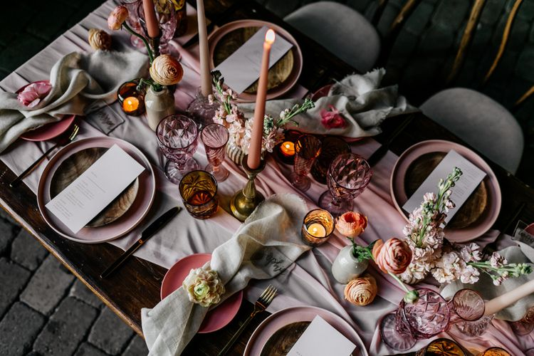 Coloured Glass, Linens, Flowers and Candles Wedding Decor