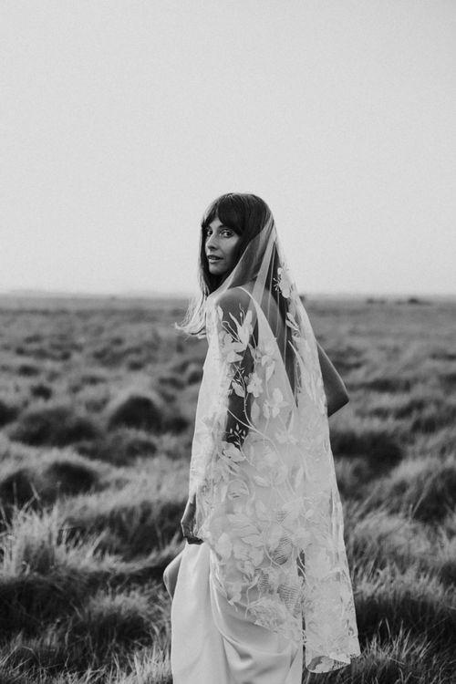 Boho Bride with Fringe in Slip Wedding Dress and Lace Wedding Veil