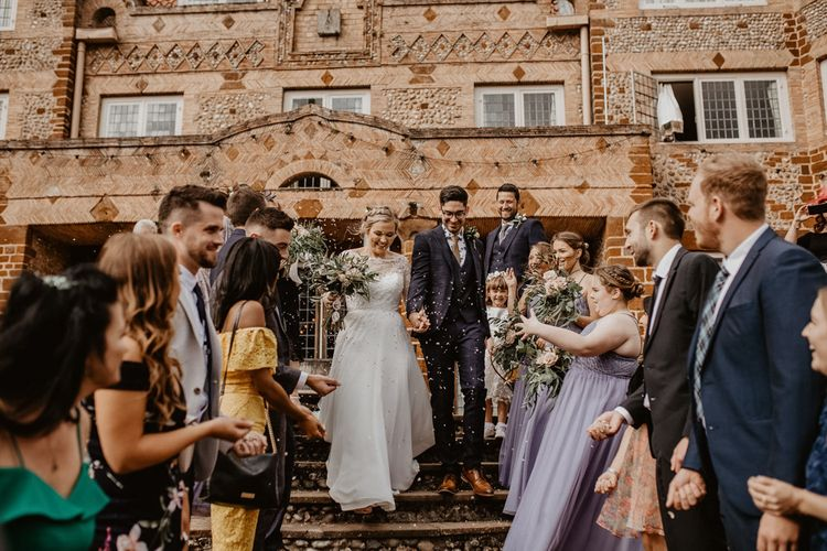 Confetti moment at Voewood wedding venue