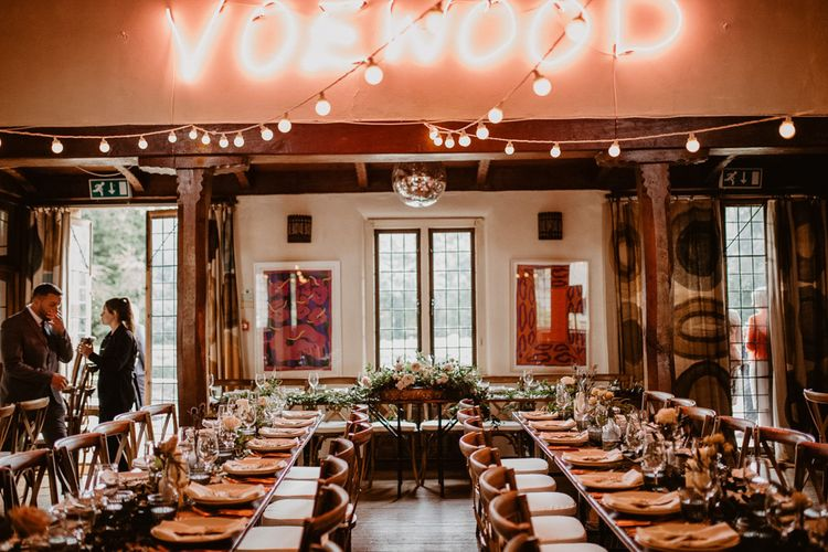 Wedding Reception at Voewood with neon sign