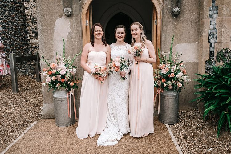 Bridal Party | Bridesmaids in Peach ASOS Dresses | Bride in Lace Wedding Dress | Peach Wedding at Swanton Morley House and Gardens in Norfolk |  Jason Mark Harris Photography | Together we Roam Films