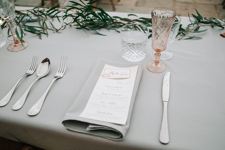 Elegant Place Setting | Peach Wedding at Swanton Morley House and Gardens in Norfolk |  Jason Mark Harris Photography | Together we Roam Films