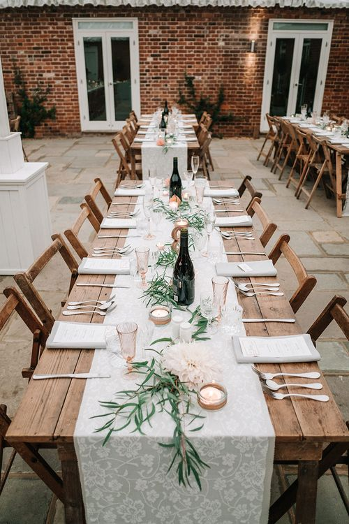 Rustic Luxe Reception Decor | Peach Wedding at Swanton Morley House and Gardens in Norfolk |  Jason Mark Harris Photography | Together we Roam Films