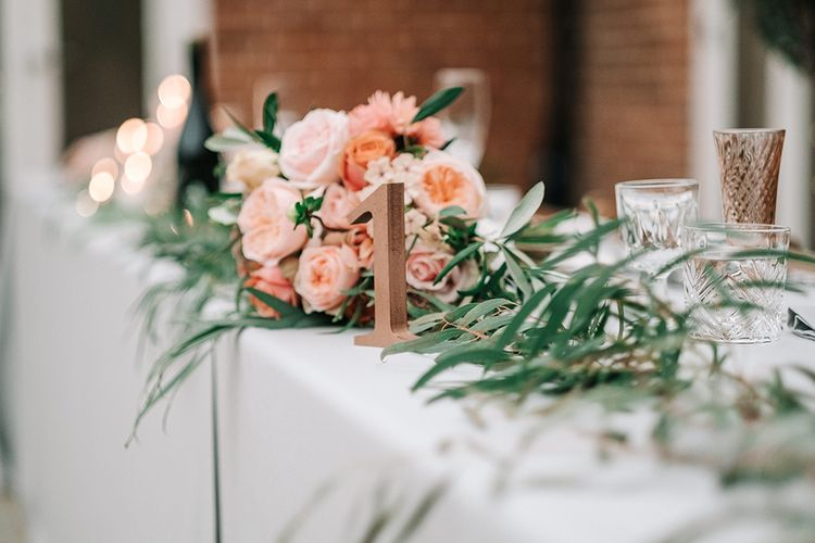 Top Table Wedding Decor & Flowers | Peach Wedding at Swanton Morley House and Gardens in Norfolk |  Jason Mark Harris Photography | Together we Roam Films