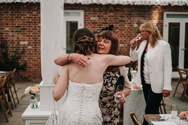 Bride in Lace Wedding Dress | Peach Wedding at Swanton Morley House and Gardens in Norfolk |  Jason Mark Harris Photography | Together we Roam Films