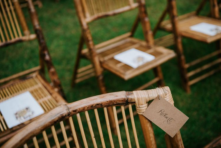 Wedding ceremony chair set up
