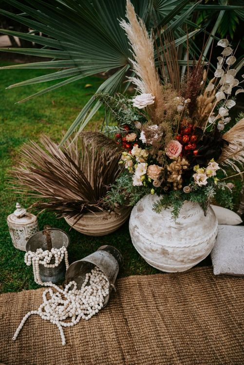 Blush wedding flowers with pampas grass
