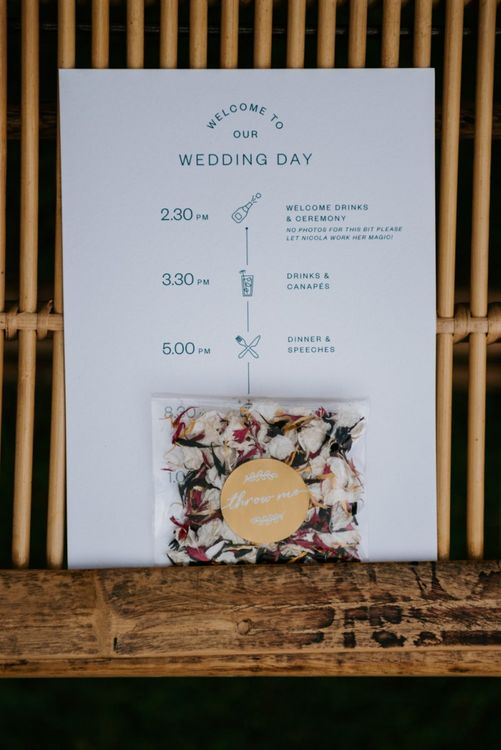Order of the day and confetti pouch