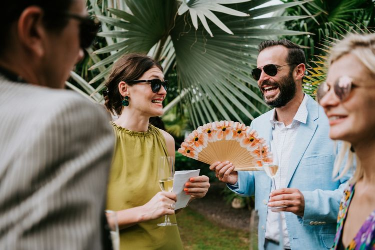 Guests wait for wedding ceremony in Spain