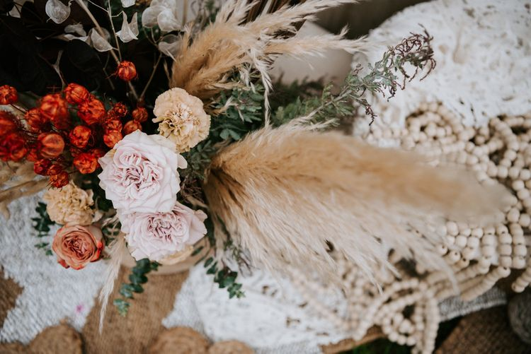 Wedding flowers and pampas grass for Spanish wedding