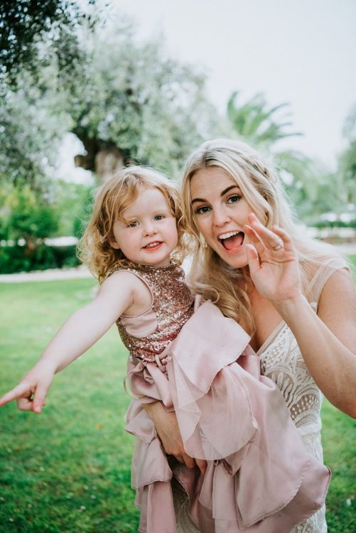 Bride with cute wedding guest