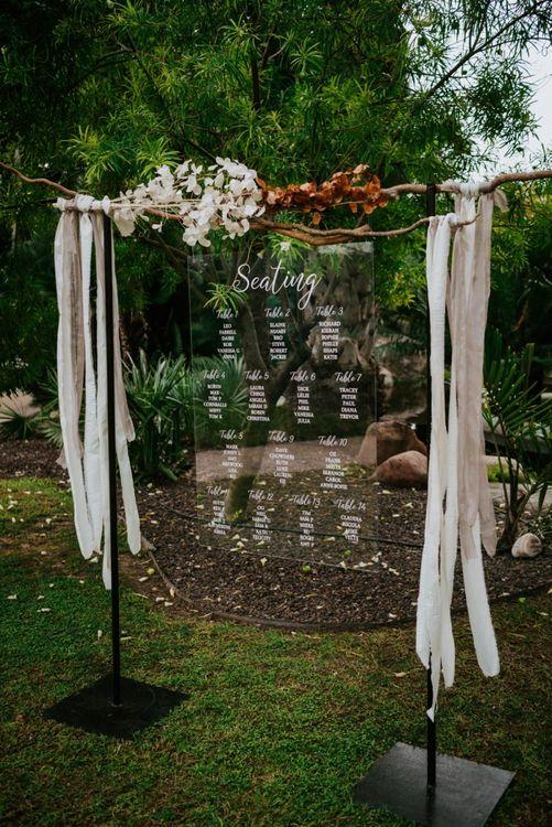 Acrylic seating chart wedding sign