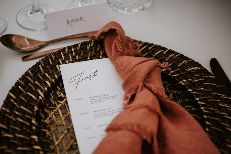 Homemade linen napkins for outdoor wedding