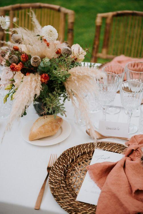 Pampas grass wedding decor