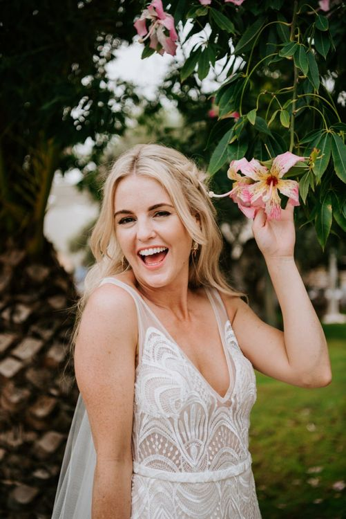 Bride with natural wedding makeup for bride Made With Love Bridal dress