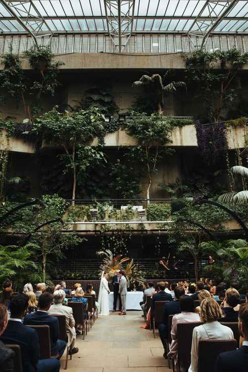 Wedding Ceremony at Barbican Conservatory in London with Botanical Plants