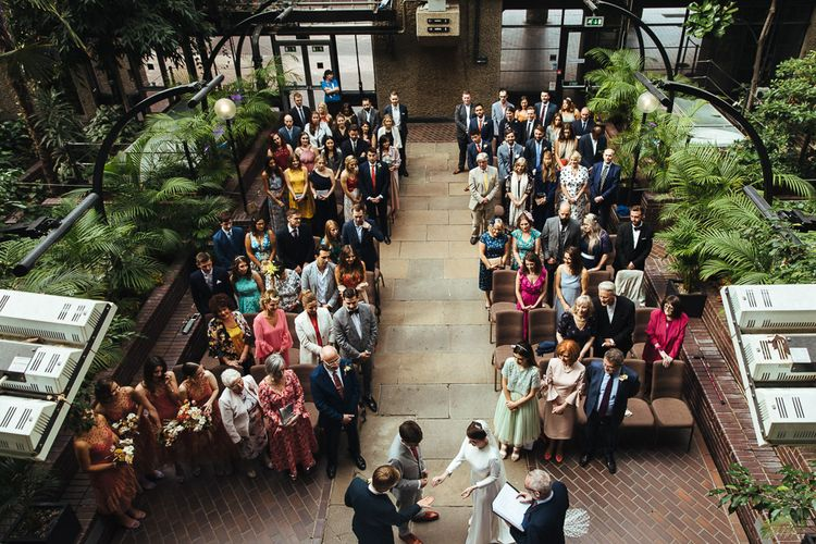 Aerial Shot of Wedding Ceremony at Barbican Conservatory in London