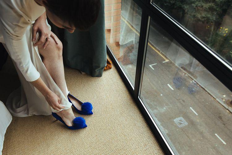 Cobalt Blue Pom Pom Kurt Geiger Wedding Shoes