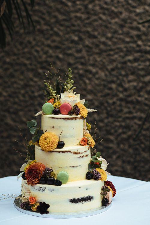 Semi Naked Wedding Cake with Dahlia and Macaroon Wedding Decor