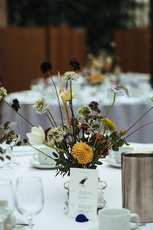 Table Centrepiece with Minimalist Floral Arrangement