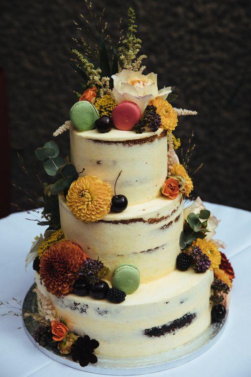 Autumnal Semi Naked Wedding Cake with Dahlia's and Macaroons Decor