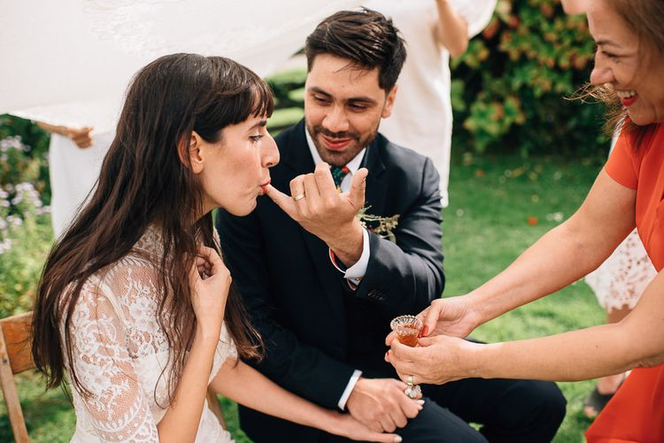 Honey Persian Wedding Ceremony Tradition with Bride in Catherine Deane Wedding Dress and Groom in Paul Smith Suit