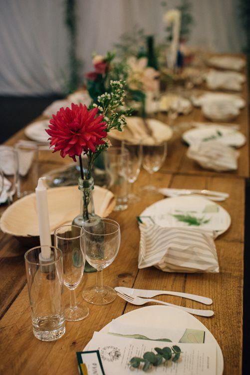 Trestle Tables with Flower Stem Centrepieces