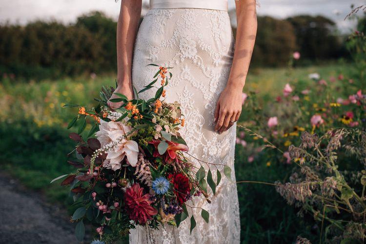 Wild Flower Wedding Bouquet with Dahlias and Foliage
