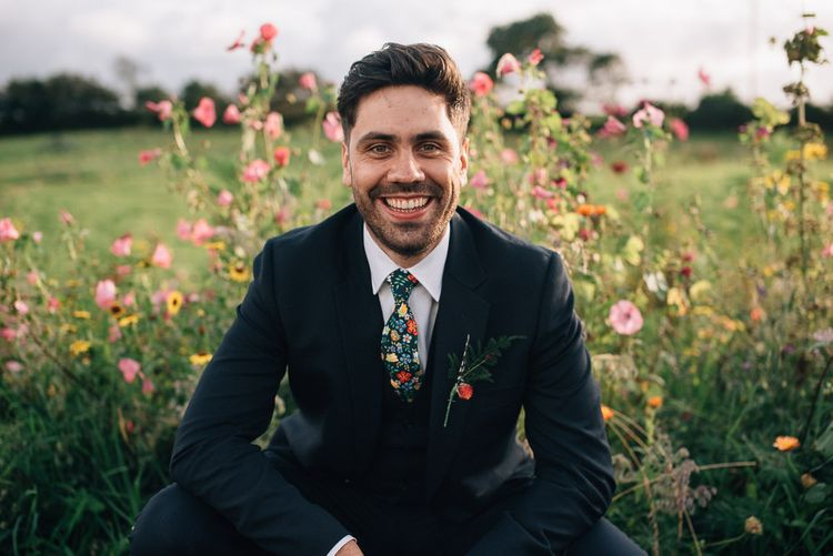 Groom in Paul Smith Suit and Floral Liberty Print Tie