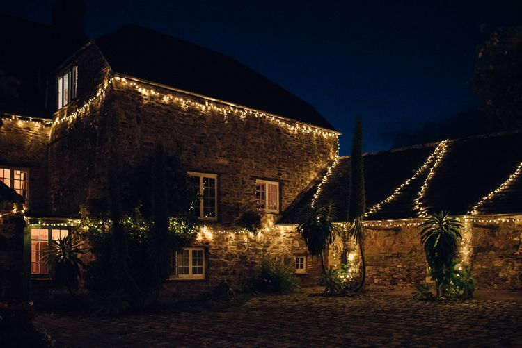Ash Barton Country House Wedding Venue in North Devon Covered in Fairy Lights