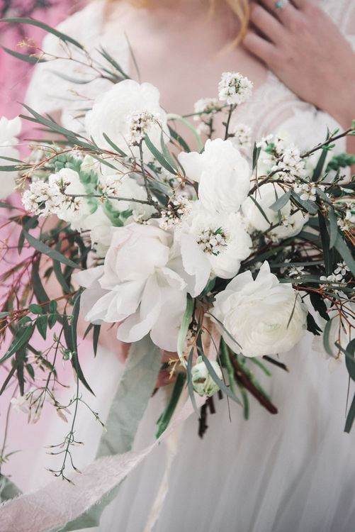 White Wedding Bouquet by Loulabel | Romantic Runaway Bride Wedding Inspiration at Chapel Porth beach in Cornwall, Styled by Boelle Events | Olivia Bossert Photography