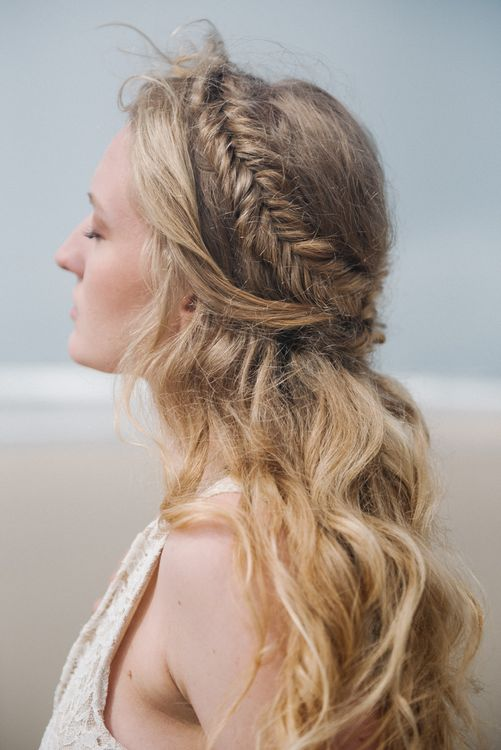 Bridal Braid by Makeup by Ione | Romantic Runaway Bride Wedding Inspiration at Chapel Porth beach in Cornwall, Styled by Boelle Events | Olivia Bossert Photography