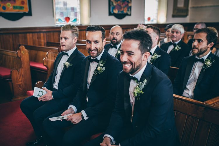 Groom and Groomsmen in Black Tie Suits from Moss Bros. with Bow Tie | Wedding Ceremony at Gilnahirk Presbyterian Church | Nautical Wedding on SS Nomadic Boat in Belfast with Black Tie Dress Code | Sarah Gray Photography