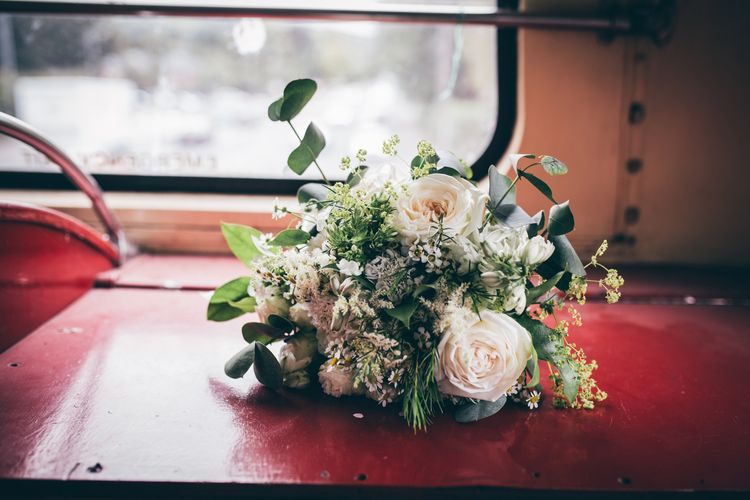Bridal Bouquet of White Flowers and Foliage | Vintage Red Routemaster Bus for Wedding Party | Nautical Wedding on SS Nomadic Boat in Belfast with Black Tie Dress Code | Sarah Gray Photography