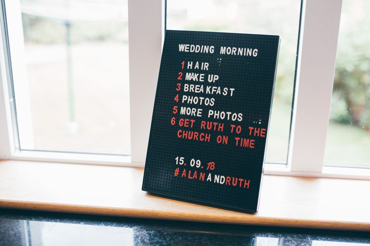 Pinboard Sign for Wedding Morning | Nautical Wedding on SS Nomadic Boat in Belfast with Black Tie Dress Code | Sarah Gray Photography