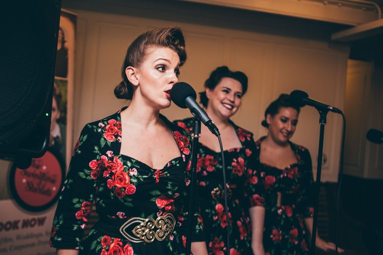The Swingtime Starlets Retro Close Harmony Trio | Nautical Wedding on SS Nomadic Boat in Belfast with Black Tie Dress Code | Sarah Gray Photography
