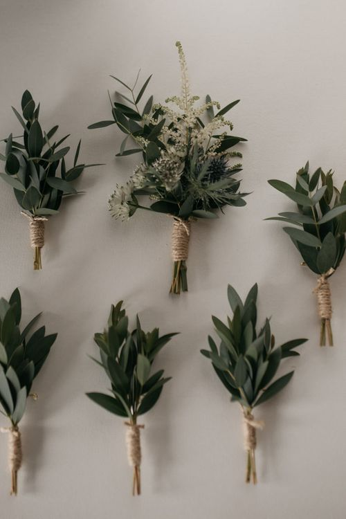Buttonholes of Olive Branches Wrapped in Twine