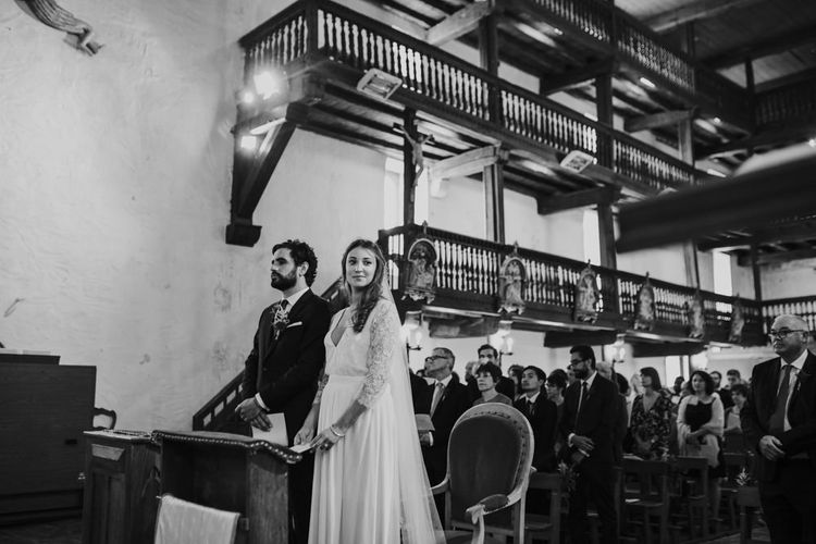 Wedding Ceremony with Bride in Donatelle Godart Wedding Dress & Groom in De Fursac Suit