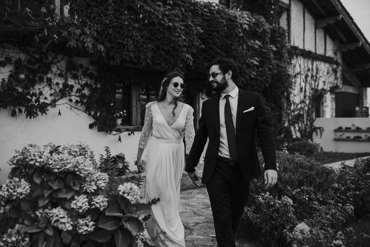 Bride in Donatelle Godart Wedding Dress & Groom in De Fursac Suit