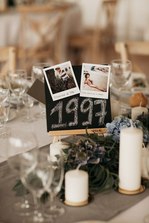 Year Table Name and Centrepiece Decor with Chalkboard & Polaroid Pictures