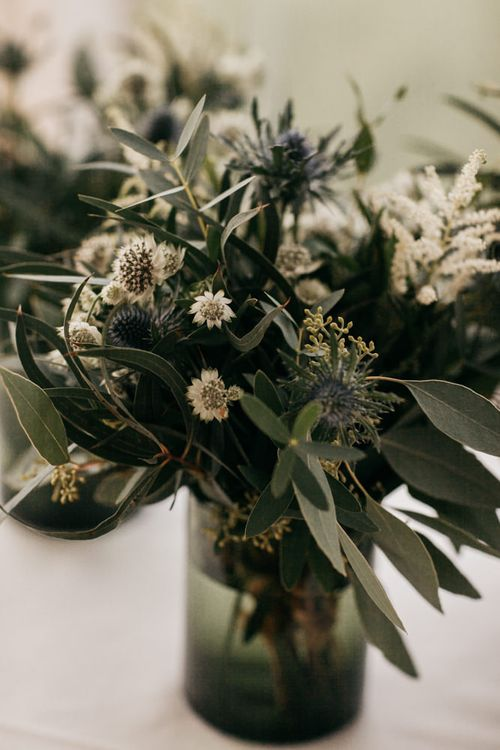 White and Green Wedding Flowers with Olive Branches