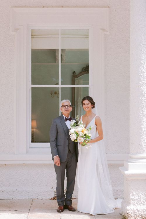 Bride with father about to walk down the aisle at Shilstone House wedding