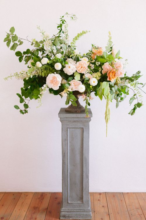 Wedding flowers in blush and peach
